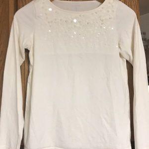 Land's End Shirt XL 16 Sequins Cream Long Sleeve